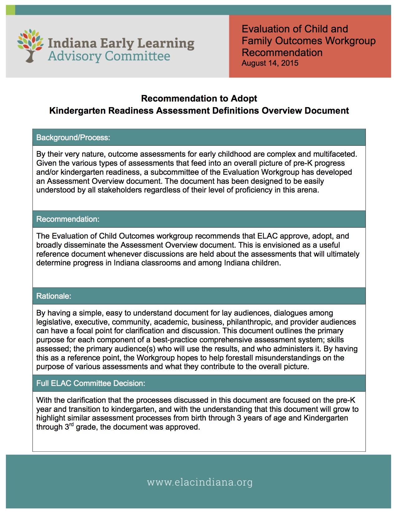 Kindergarten Readiness Assessment Definitions Overview Document